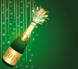 Green and gold festive Champaign Background.