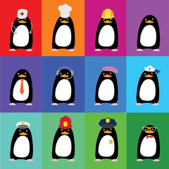 Cute penguins in the form of various professions