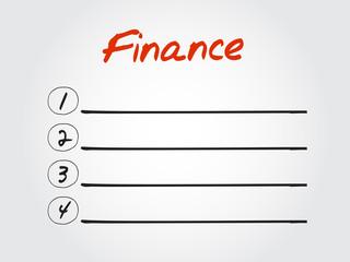 Blank FINANCE list, vector concept background