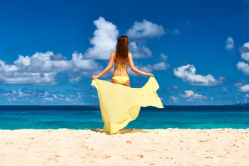 Woman with sarong at beach