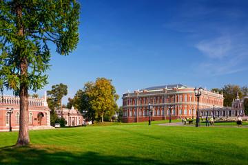 Green city park Tsaritsyno in sunny autumn day, Moscow