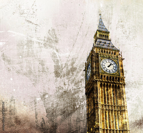 canvas print picture London - Big Ben - Altes Retro Foto