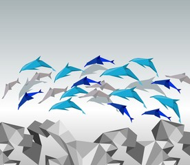 Origami dolphins.