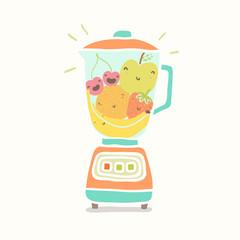 Blender full of funny fruits.