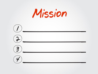 Blank MISSION list, vector concept background