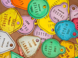 Old colorful bicycle tax license plates