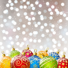 Xmas color balls on bokeh background