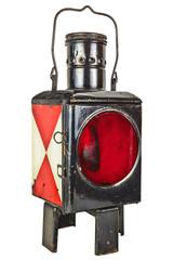 Vintage railway lantern isolated on white