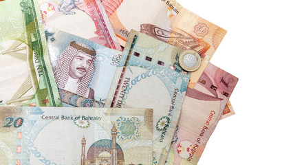 Modern Bahrain dinars banknotes on white background