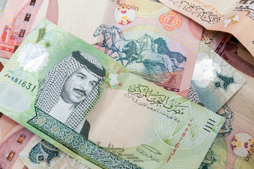 Modern Bahrain dinars banknotes, closeup background