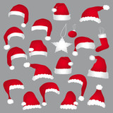 Fototapety Santa caps and christmas decorations. Vector icons set.