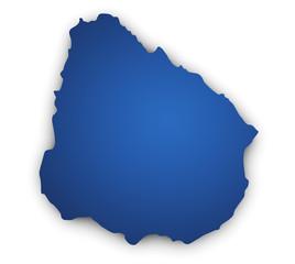 Map Of Uruguay 3d Shape