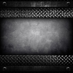 concrete background with metal frame