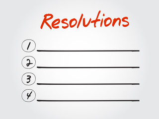 Blank Resolutions list, vector concept background