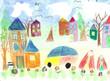Watercolor children drawing kids Walking