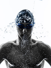 young man swimmer swimming  silhouette
