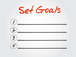 Blank Set Goals list, vector concept background