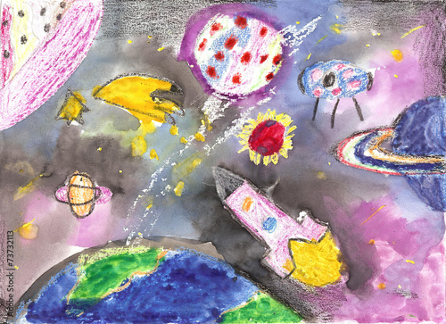 Watercolor children drawing space planet rocket - 73732113