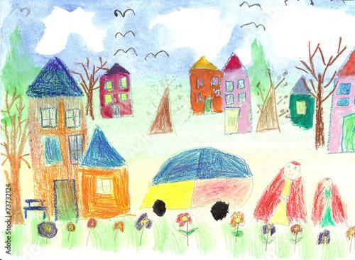 Watercolor children drawing kids Walking - 73732124