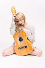 Women with acoustic guitar