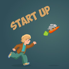 Start up your business, boy launches into the sky rabbit