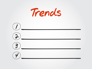 Blank Trends list, vector concept background