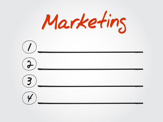 Blank Marketing list, vector concept background