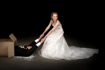 Bride receiving a brand new husband