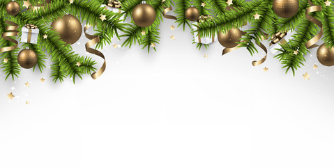 Christmas banner with spruce branches.