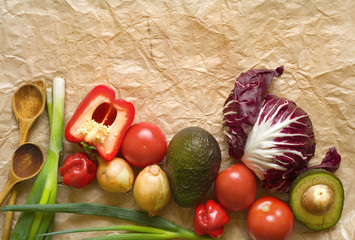 various vegetables, wooden spoons, free copy space