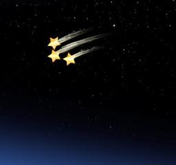 Drei Sernschnuppen im Nachthimmel