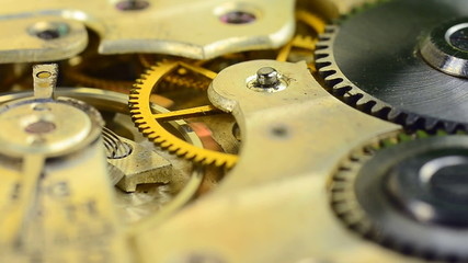 Old clock gear mechanism