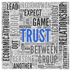 Text cloud background depicting Trust