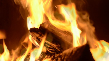 fireplace full of fire