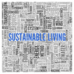 SUSTAINABLE LIVING Concept Word Tag Cloud Design