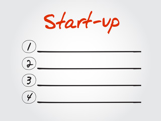 Blank Start-up list, vector concept background