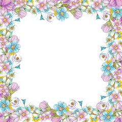 Frame of wildflowers