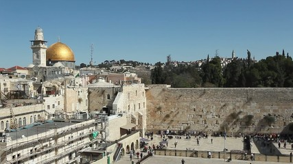 Wailing wall and Dome of the rock, Jerusalem, Israel