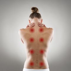 Shiatsu treatment. Healthy back and spine concept.