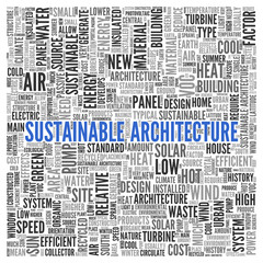 SUSTAINABLE ARCHITECTURE Word Tag Cloud Design