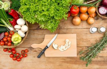 Cutting board with mushrooms