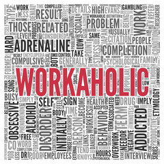 WORKAHOLIC Concept in Word Tag Cloud Design