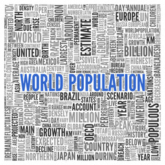 WORLD POPULATION Concept in Word Tag Cloud Design