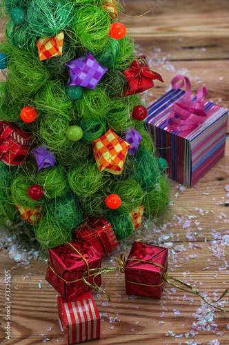 canvas print picture new year's composition with toys and Christmas decorations