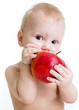 Baby boy eating apple, isolated on white