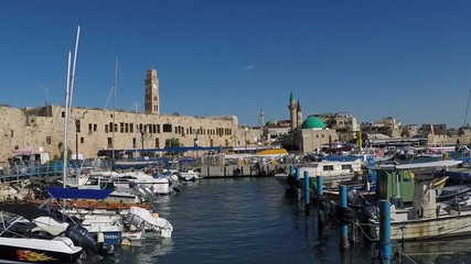 Port of Acre, Israel. with the old city in the background.
