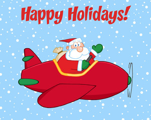 Happy Holidays Greeting With Santa Claus Flying A Plane