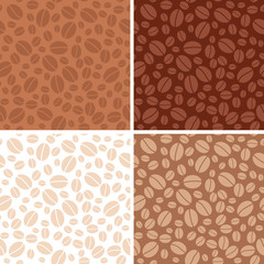 set - coffee beans brown seamless patterns - vector
