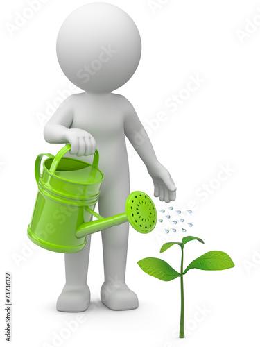 canvas print picture 3d Männchen mit wachsender Pflanze
