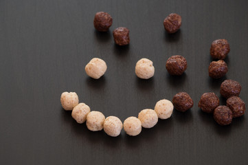 Happy smiley face made using cereals